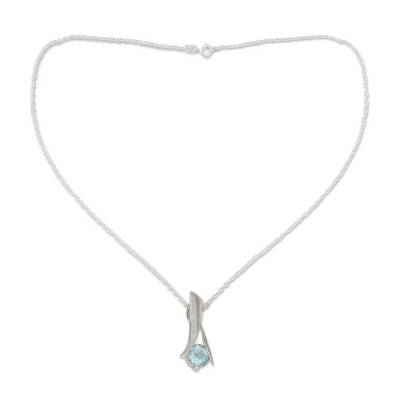 Indian Sterling Silver and Blue Topaz Necklace