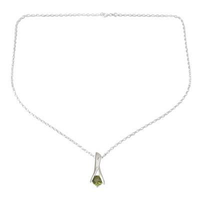 Fair Trade Modern Sterling Silver and Peridot Necklace