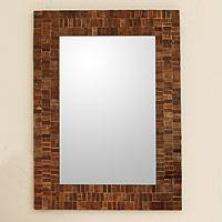 Mosaic glass mirror, 'Mumbai Maze' - Glass Tile Mirror Brown Gold Handcrafted in India