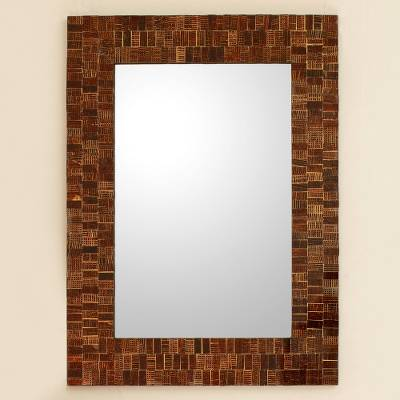 Glass mosaic wall mirror, 'Mumbai Maze' - Glass Tile Mirror Brown Gold Handcrafted in India