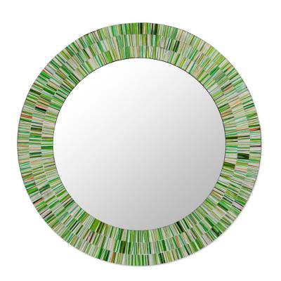 Hand Made Mosaic Wood Glass Mirror