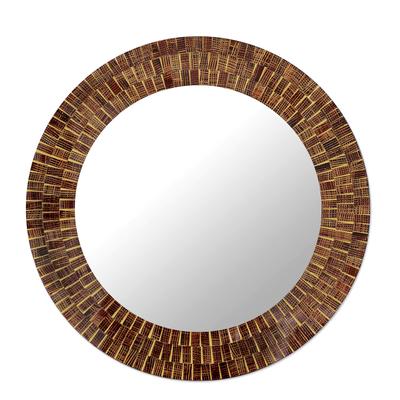 Mosaic glass mirror, 'Round Mumbai Maze' - Mirror