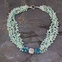 Aquamarine beaded necklace, 'Andaman Shore' - Aquamarine beaded necklace