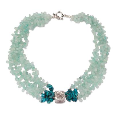 Aquamarine beaded necklace