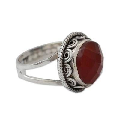 Fair Trade Jewelry Sterling Silver Ring with Carnelian