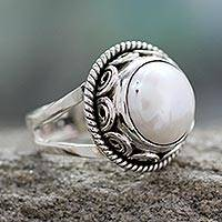 Cultured pearl cocktail ring, 'Perfect Love' - Pearl Cocktail Ring in Sterling Silver Handmade in India