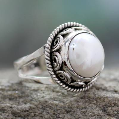 david yurman eye necklace - Pearl Cocktail Ring in Sterling Silver Handmade in India