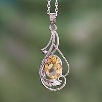 Citrine pendant necklace, 'Sunshine Blossom' - Citrine pendant necklace