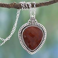 Jasper pendant necklace, 'Facets of Fire' - Jasper pendant necklace