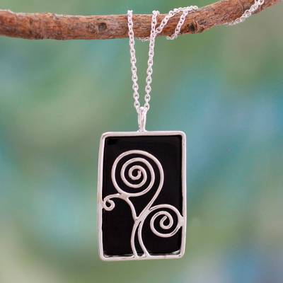 Onyx pendant necklace, 'Happy Tree' - Sterling Silver and Onyx Necklace Indian Modern Jewelry