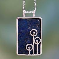 Lapis lazuli pendant necklace, 'Star Shower' - Modern Sterling Silver and Lapis Lazuli Necklace