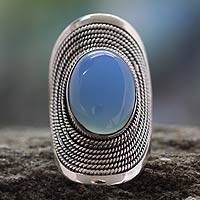 Sterling silver cocktail ring, 'Jaipur Skies' - Sterling Silver Jewelry Chalcedony Ring from India