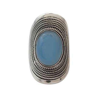 Sterling Silver Jewelry Chalcedony Ring from India