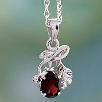 Garnet floral necklace, 'Hindu Melody' - Garnet floral necklace