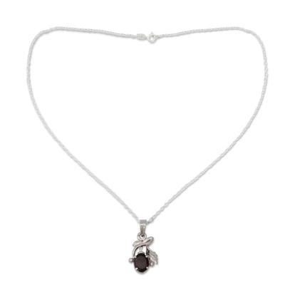 Garnet floral necklace