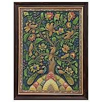 Marble dust relief panel, 'Tree of Life II' - Marble Dust Folk Art Relief