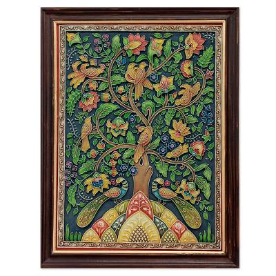 Marble dust relief panel, 'Tree of Life II' - Marble Dust Relief Panel