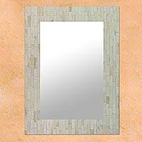 Mirror, 'Dancing Clouds' - Mosaic Wall Mirror Bone Handmade from India