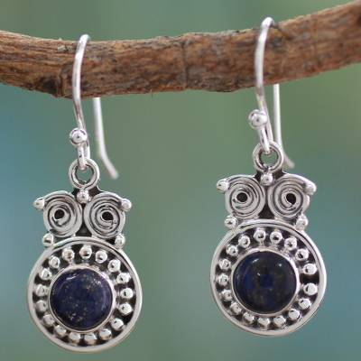 Lapis lazuli dangle earrings, 'Intuitive Owl' - Hand Crafted Sterling Silver and Lapis Lazuli Earrings