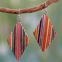 Indian elm wood dangle earrings, 'Festival' - Fair Trade Jewelry Wood Multi Color Earrings