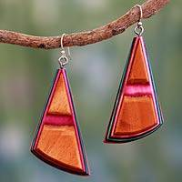 Indian elm wood dangle earrings, 'Modernity' - Multicolor Wood Earrings on Sterling Silver Hooks