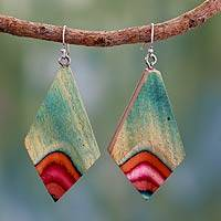Indian elm wood dangle earrings, 'Splashing Holi' - Handmade Modern Jewelry Wood Dangle Earrings