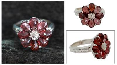 gemstone ruby rings - Garnet Flower Ring Artisan Crafted with Sterling Silver