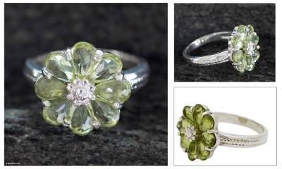 premier jewelry rings silver quarter - Floral Sterling Silver and Peridot Cocktail Ring