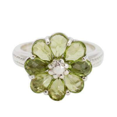 Floral Sterling Silver and Peridot Cocktail Ring