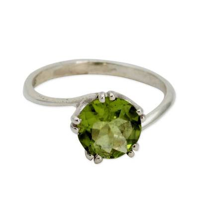 Sterling Silver and Peridot Ring Hand Made Modern Jewelry