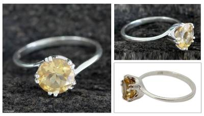 cool sterling silver necklaces - Handcrafted Sterling Silver Solitaire Citrine Ring
