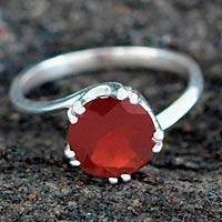 Garnet solitaire ring, 'Delhi Crown' - Sterling Silver and Garnet Solitaire Ring
