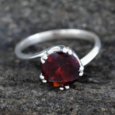 om ring silver quarter value - Sterling Silver and Garnet Solitaire Ring