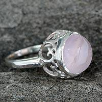 Rose quartz solitaire ring, 'Romantic Delhi' - Rose Quartz Jewelry Sterling Silver Solitaire Ring