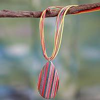 Indian elm wood pendant necklace, 'Color Fusion'