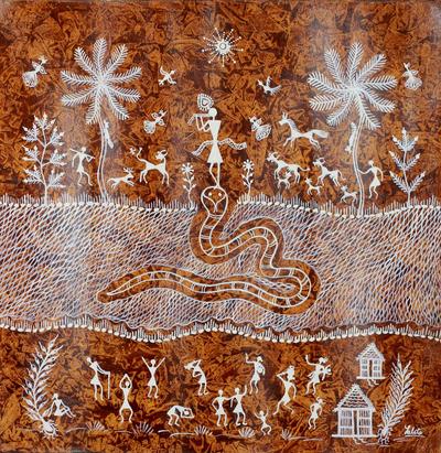 Hindu-Themed Warli Painting from India