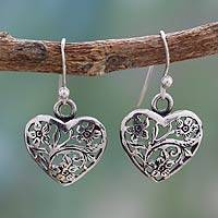 Sterling silver dangle earrings, 'Blossoming Hearts' - India Jewelry Artisan Crafted Sterling Silver Earrings