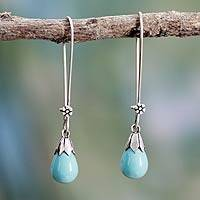 Cultured pearl dangle earrings, 'Precious Aqua' - Blue Pearl Earrings Sterling Silver Handmade in India