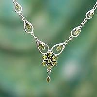 Peridot Y-necklace, 'Floral Lady' - Peridot Necklace 11.5 Cts Sterling Silver India Jewelry