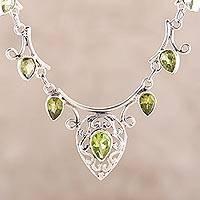 Peridot pendant necklace, 'Ivy Elegance' - Fair Trade Peridot and Sterling Silver Necklace