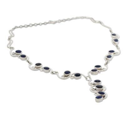 Handmade Sterling Silver Y Necklace with Lapis Lazuli
