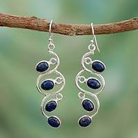 Lapis lazuli dangle earrings, 'Lotus Buds' - Lapis Lazuli Earrings Artisan Sterling Silver Jewelry