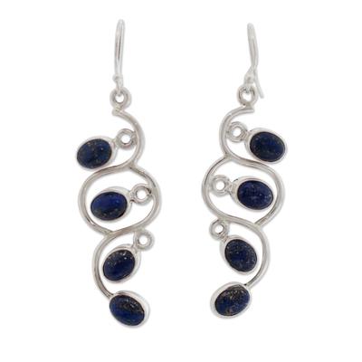 Lapis Lazuli Earrings Artisan Sterling Silver Jewelry