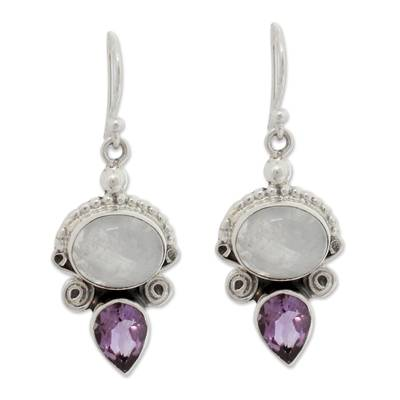 Sterling Silver Amethyst and Rainbow Moonstone Earrings