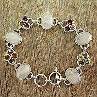 Moonstone link bracelet, 'Rainbow Allure' - Moonstone link bracelet