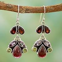 Garnet and amethyst dangle earrings, Elegance