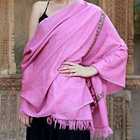 Wool shawl, 'Hot Pink Garden' (India)