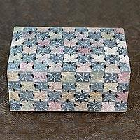 Soapstone box, 'Patchwork Blossoms' - Decorative Soapstone Box Hand Carved in India