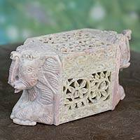 Soapstone box, 'Royal Mughal Elephants' - Elephant Decorative Box  Soapstone Hand Carved Animal Themed