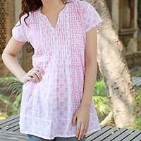 Cotton blouse, 'Rose Harmony' - Indian Floral Cotton Pink and White Tunic Top